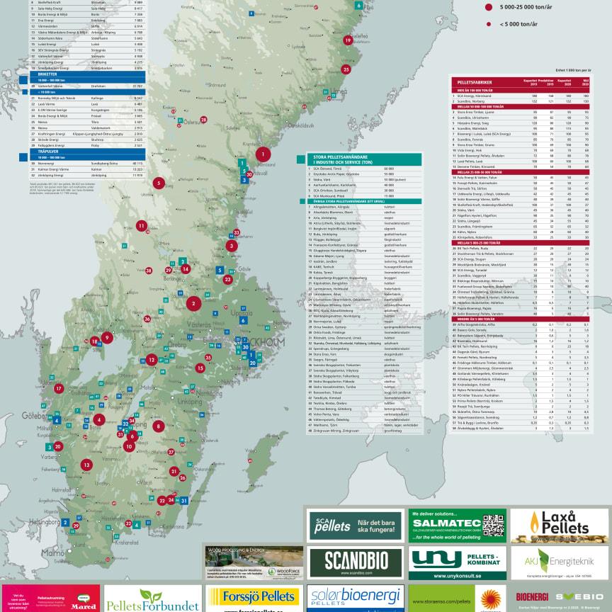 Bioenergis karta: Pellets i Sverige 2019