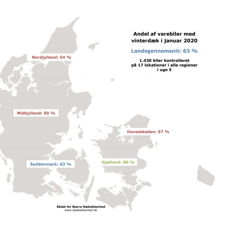 Dæktælling - Varebiler vinter - Kort januar 2020