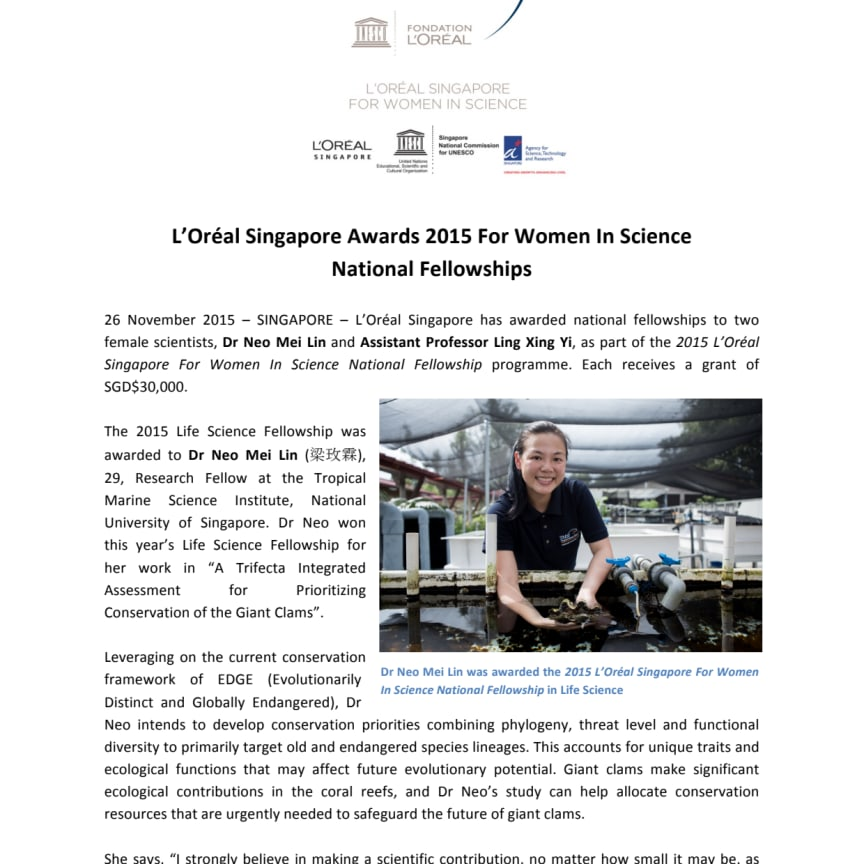 L'Oréal Singapore Awards 2015 For Women In Science National Fellowships