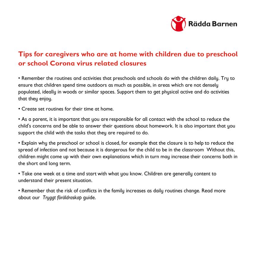 Engelska: till dig som har barn hemma pga corona