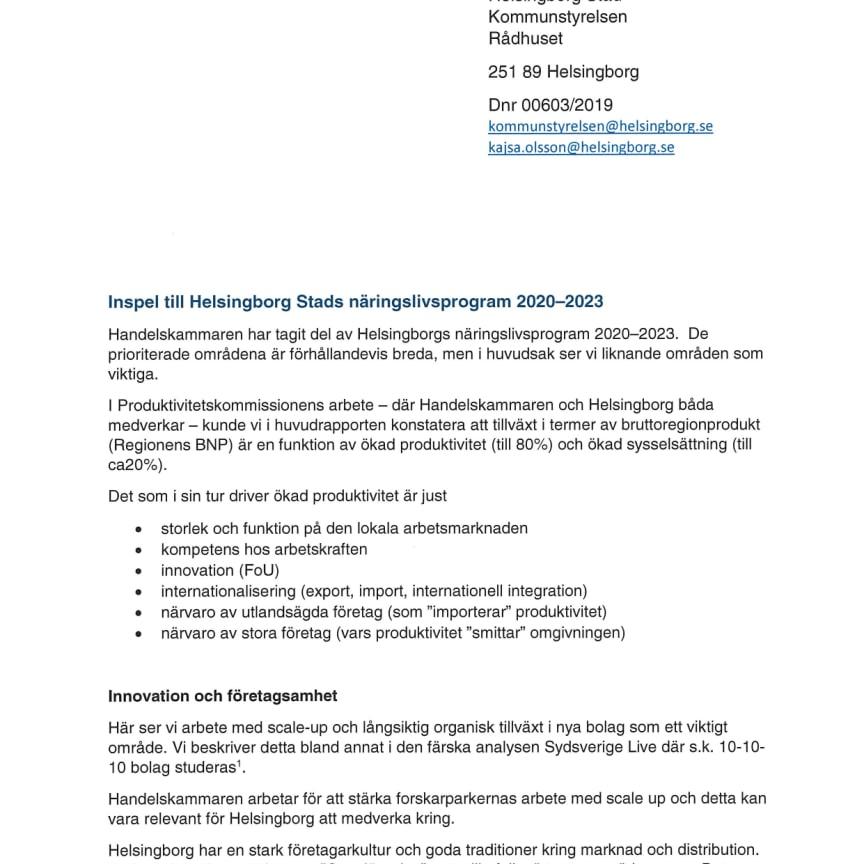 Inspel till Helsingborgs Stads näringslivsprogram 2020-2023