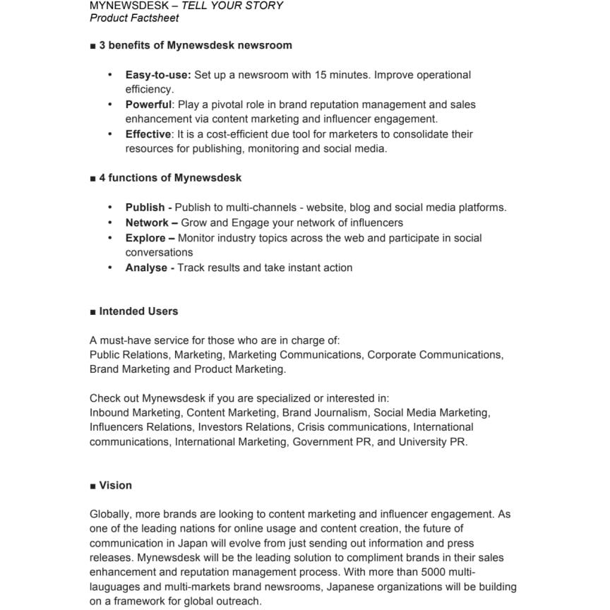 Mynewsdesk Newsroom - Product Factsheet (Japan)
