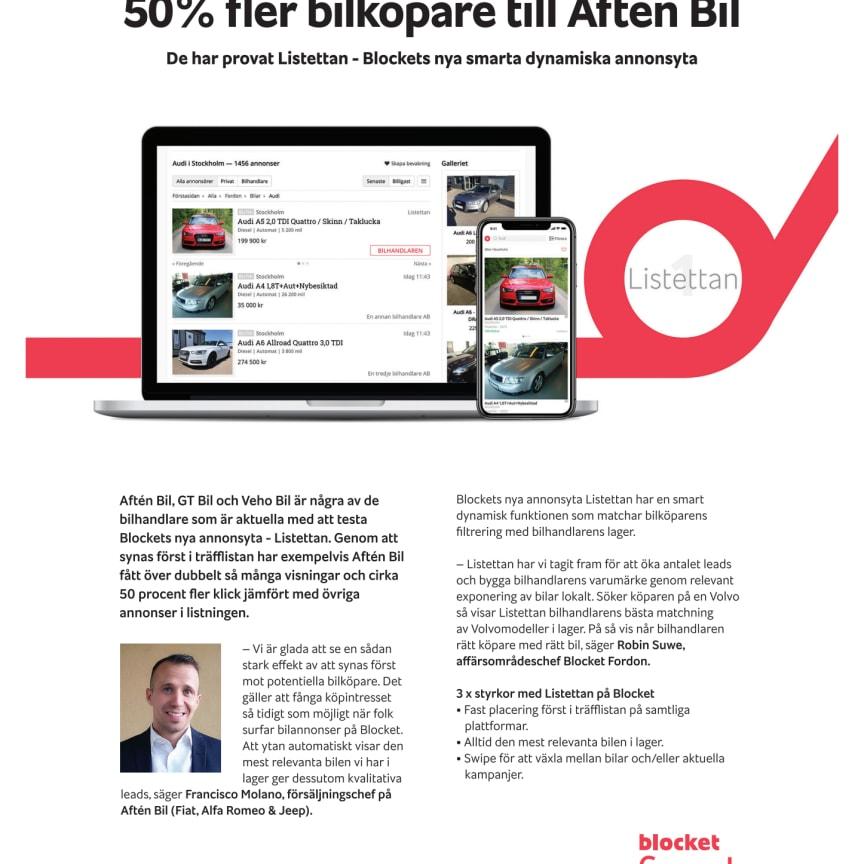 Blocket lanserar ny smart dynamisk annonsprodukt - Listettan
