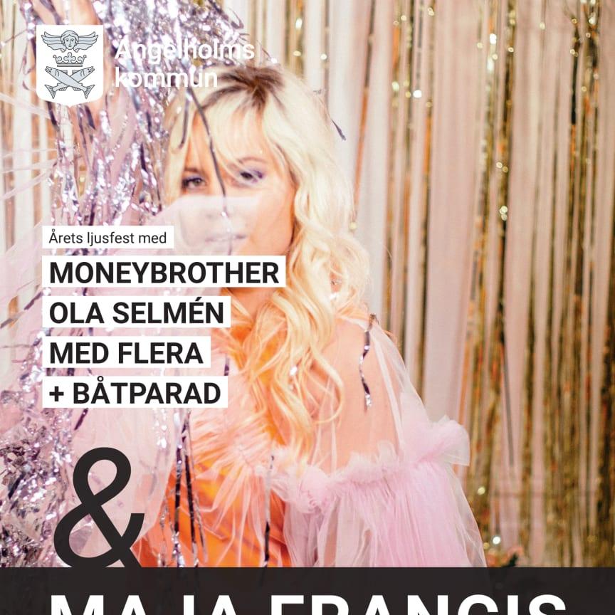 Affisch Ljusfesten 2019 med Maja Francis