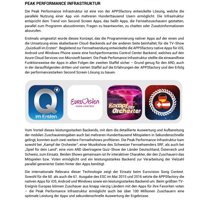 Factsheet zum Thema Peak Perfomance Infrastruktur