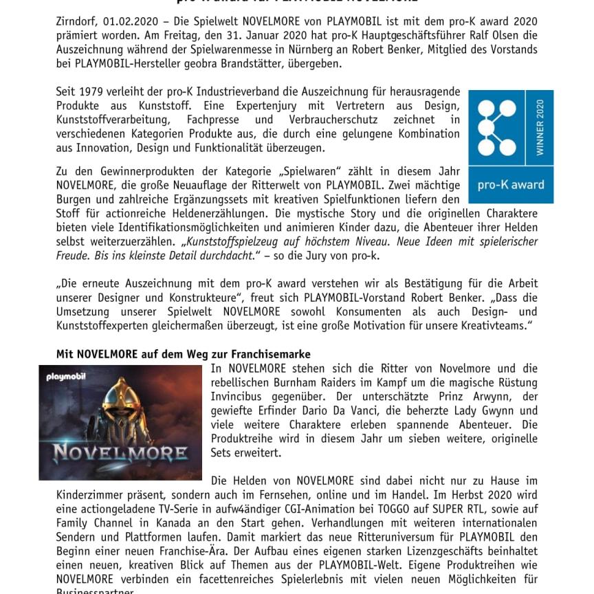pro-K award für PLAYMOBIL NOVELMORE