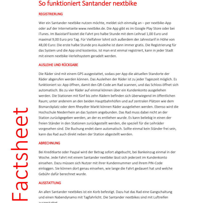 Factsheet Santander nextbike