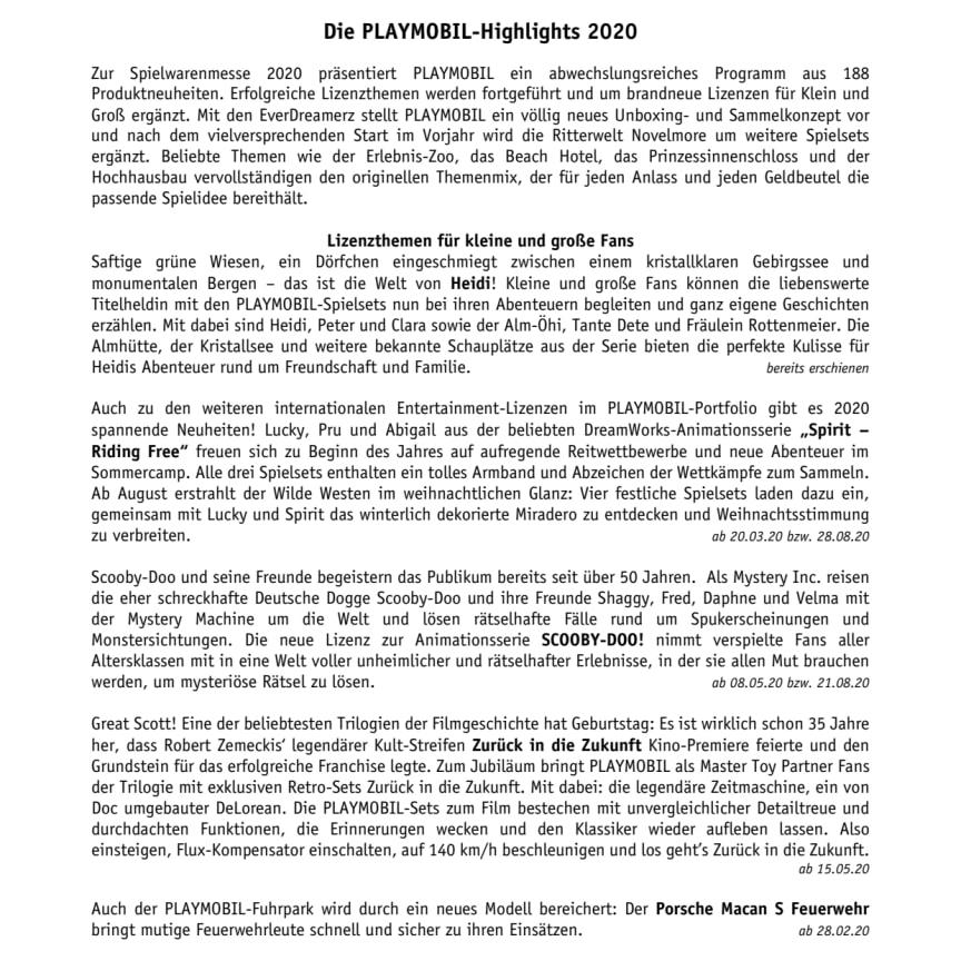 Die PLAYMOBIL-Highlights 2020
