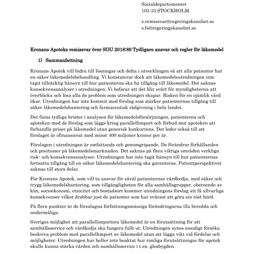 Kronans Apoteks remissvar på Läkemedelsutredningen
