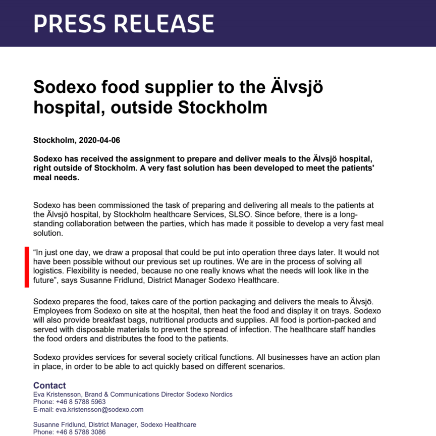Sodexo food supplier to the Älvsjö hospital, outside Stockholm