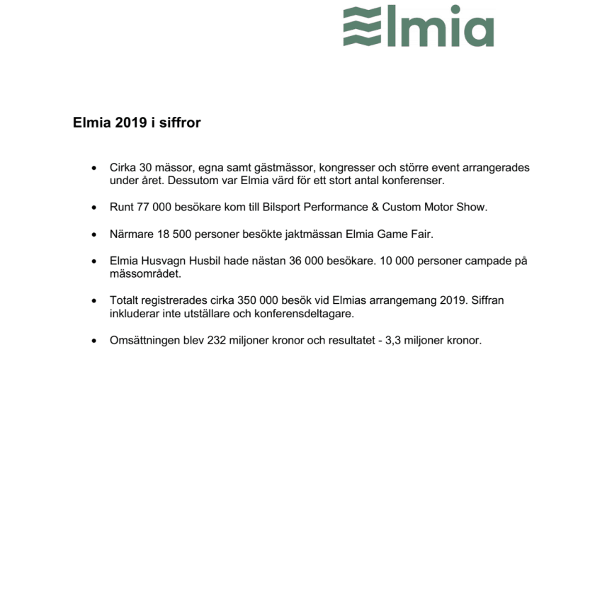 Elmia 2019 i siffror