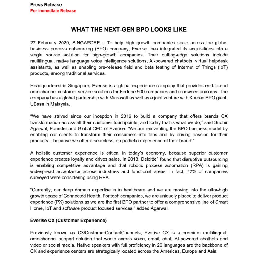 27 Feb 2020 [Press Release] Everise - the Next Generation BPO
