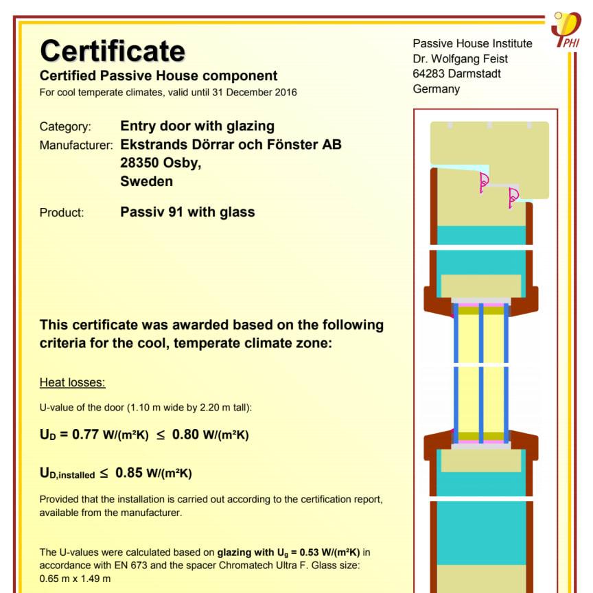 Passivhuscertifikat Ekstrands Passiv 91 glasad ytterdörr