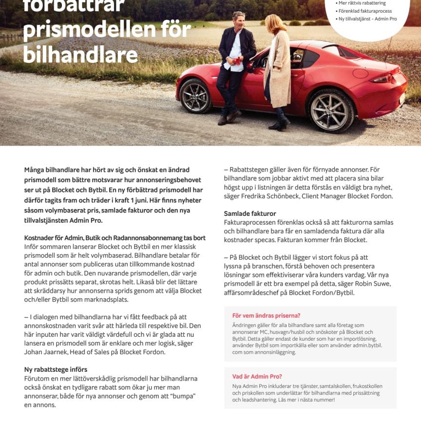 Blocket & Bytbil förbättrar prismodellen för fordonshandlare