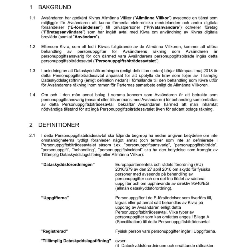 Avsändare direktavtal PUB-avtal (Kivra biträde)
