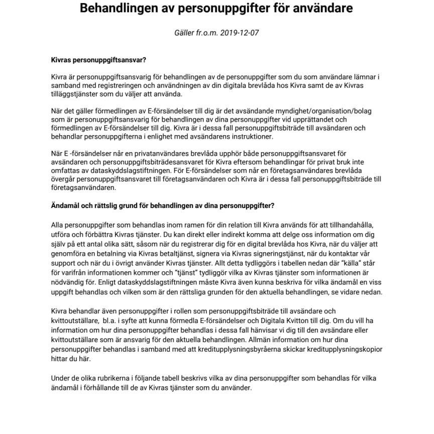 Behandlingen av personuppgifter för användare - Gäller fr.o.m. 2019-12-07