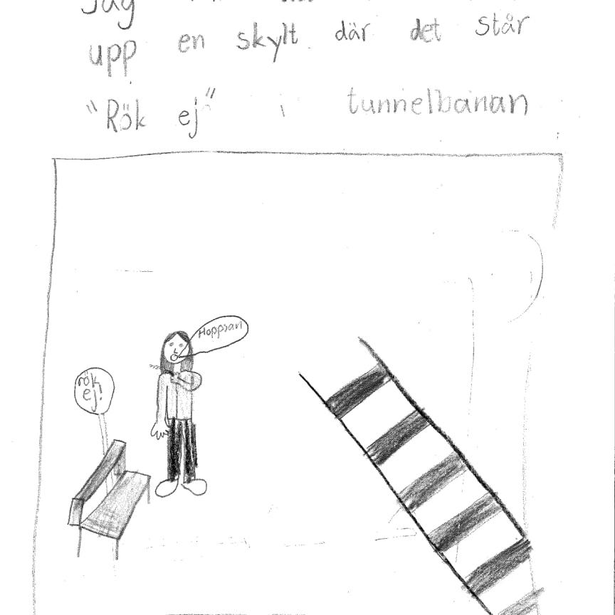Exempel på teckningar inlämnade av klass 2B, vinnare av Lilla Säkerhetspriset 2018.