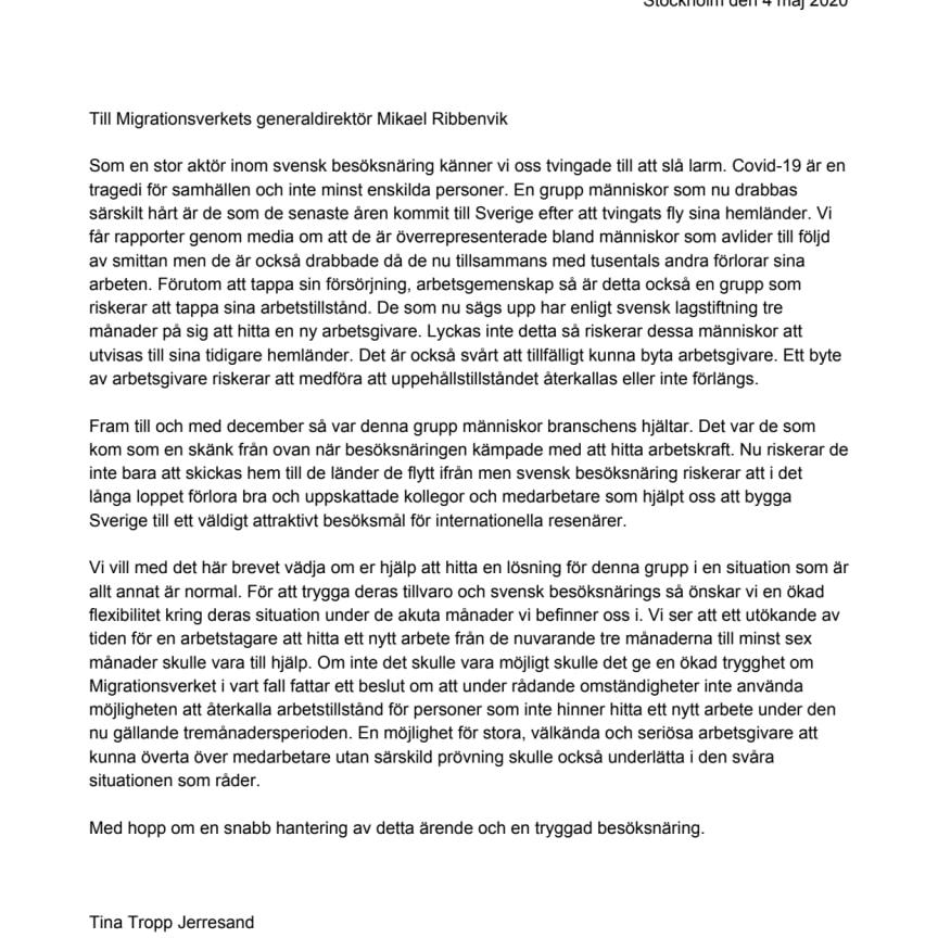 Brevet till Migrationsverket