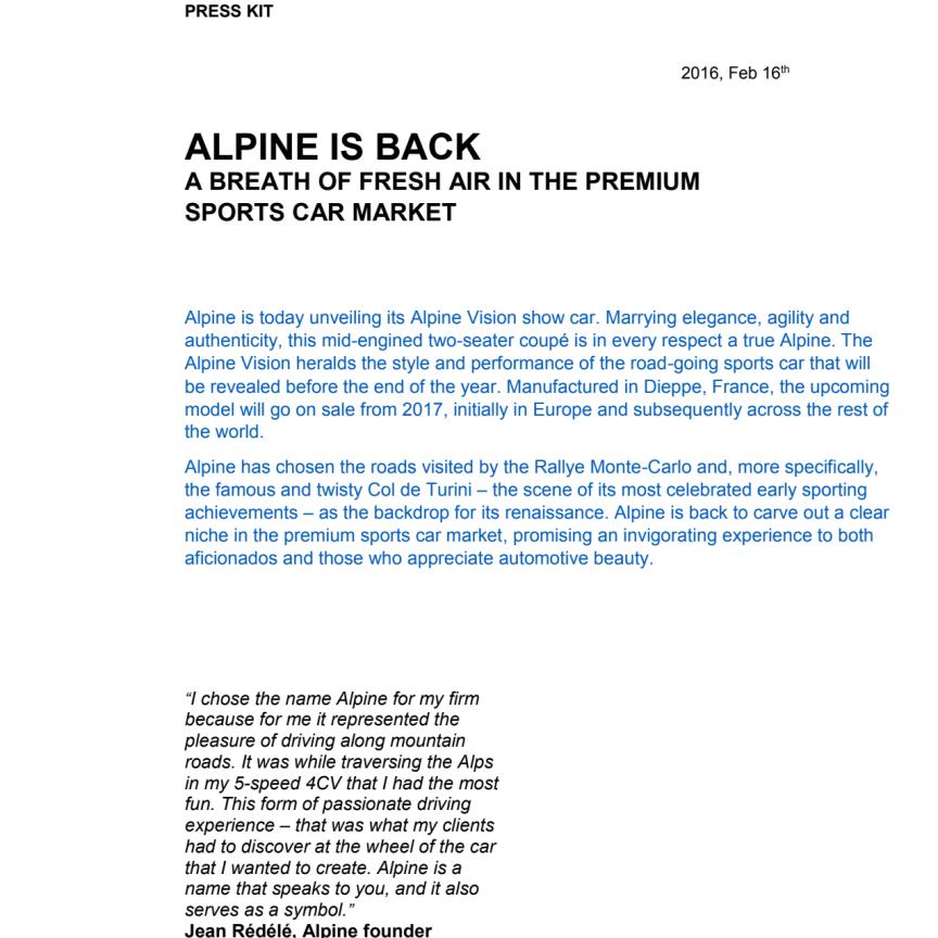 Alpine - press kit (engelska)