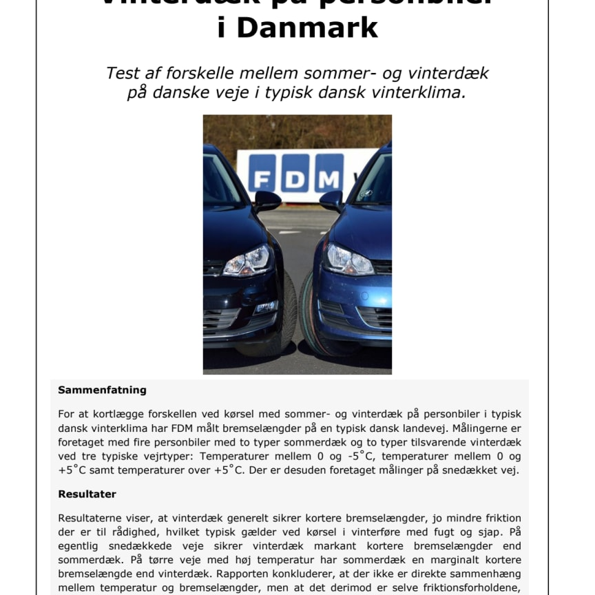 FDM Rapport - Vinterdæk på personbiler i Danmark
