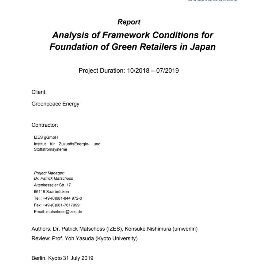 Studie IZES zu Ökostromanbietern in Japan (in englischer Sprache)