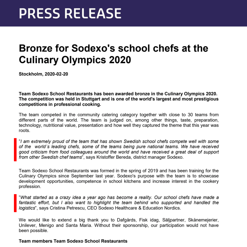 Bronze for Sodexo's school chefs at the Culinary Olympics 2020