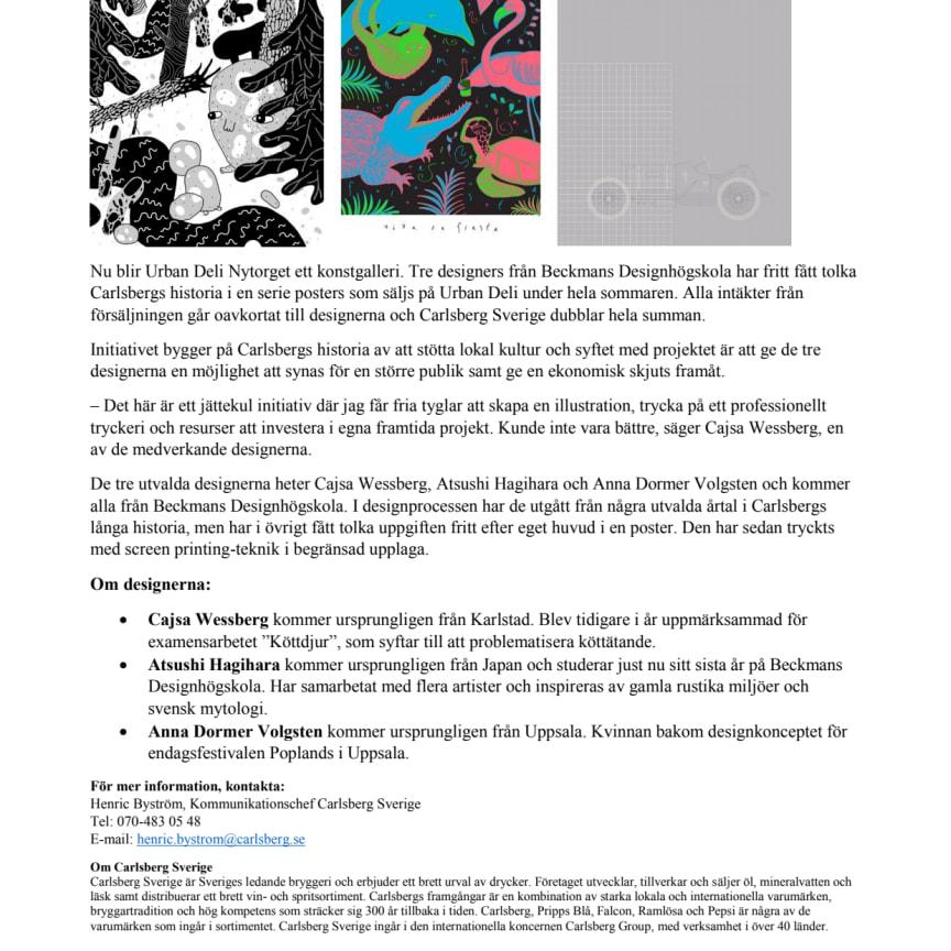 Carlsberg Sverige och Urban Deli inleder samarbete med designers