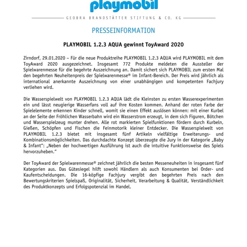 PLAYMOBIL 1.2.3 AQUA gewinnt ToyAward 2020