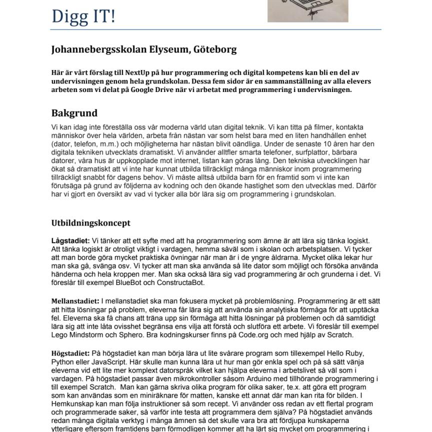 DiggIT - ett utbildningskoncept från Johannebergsskolan Elyseum, Göteborg