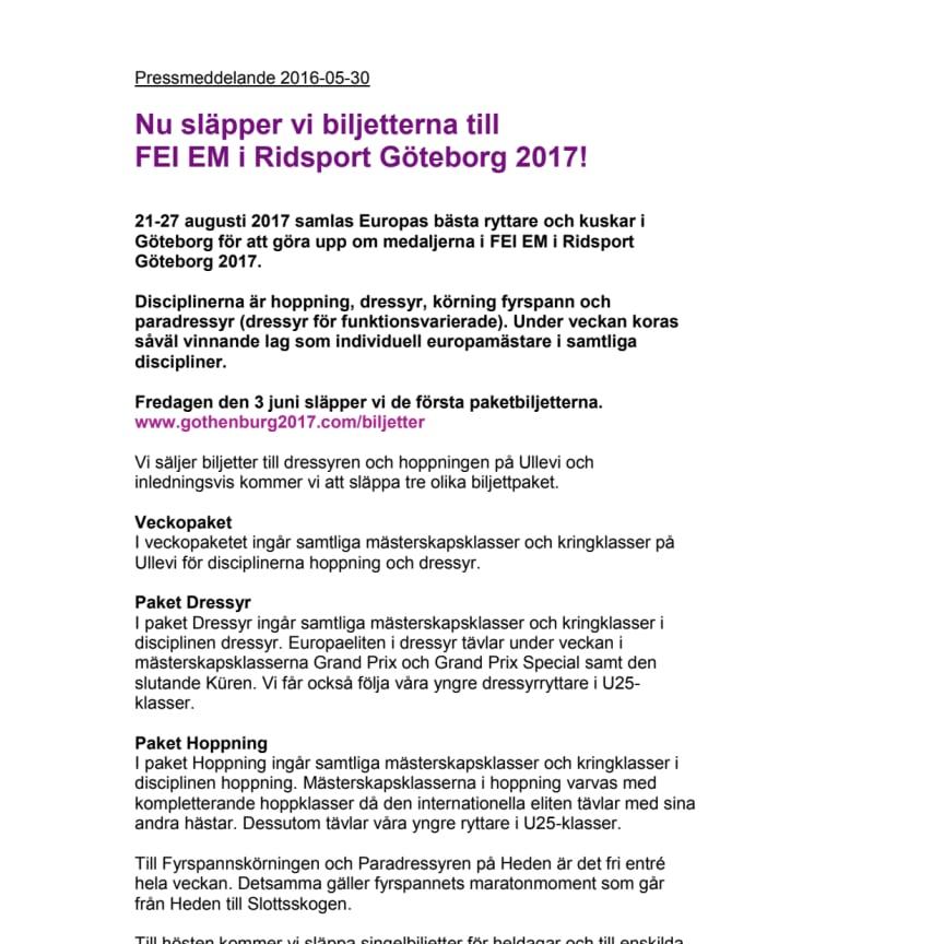 Biljettsläpp till FEI EM i Ridsport 2017