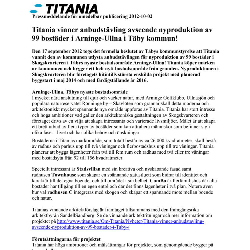 Pressmeddelande: Titania vinner anbudstävling avseende nyproduktion av 99 bostäder i Täby!