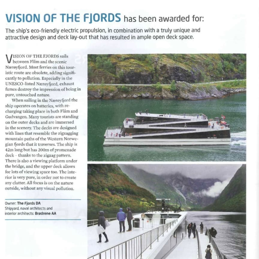 Shippax article on Vision of the Fjords award