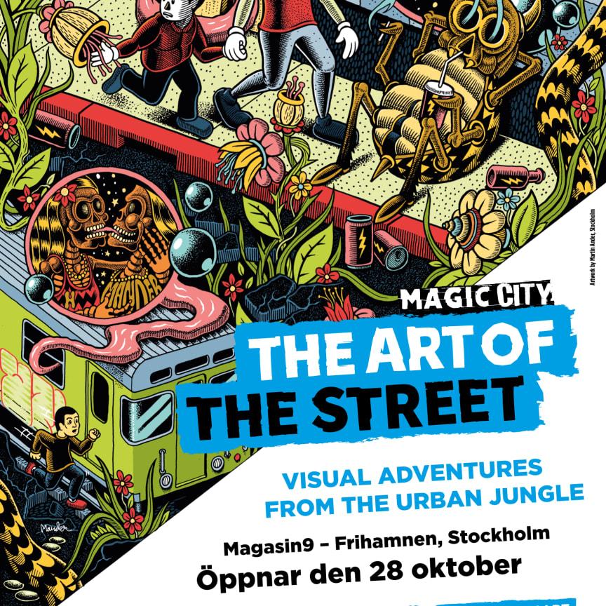 Utställningsaffisch till Magic City signerad Mander