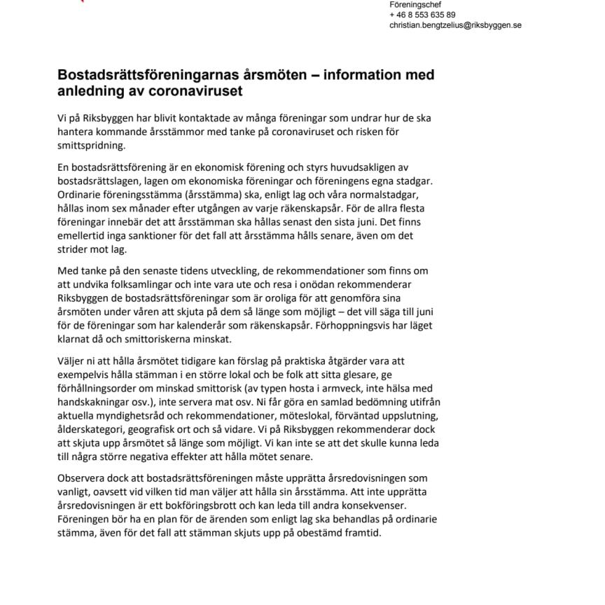 Bostadsrättsföreningarnas årsmöten – information med anledning av coronaviruset