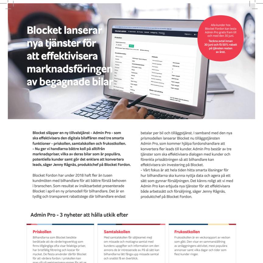 Blocket släpper en ny tillvalstjänst - Admin Pro