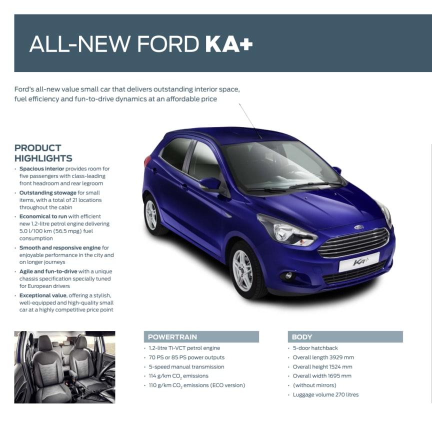 Ford Ka+ hurtige facts