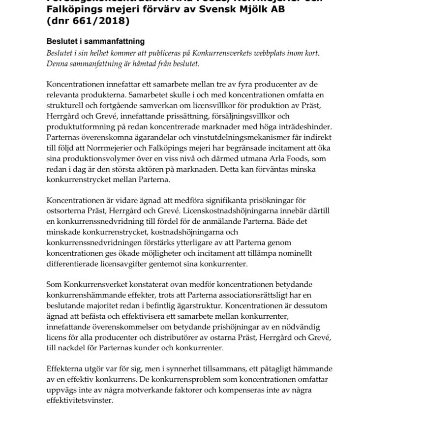 Konkurrensverkets beslut koncentration varumärken ost - Sammanfattning