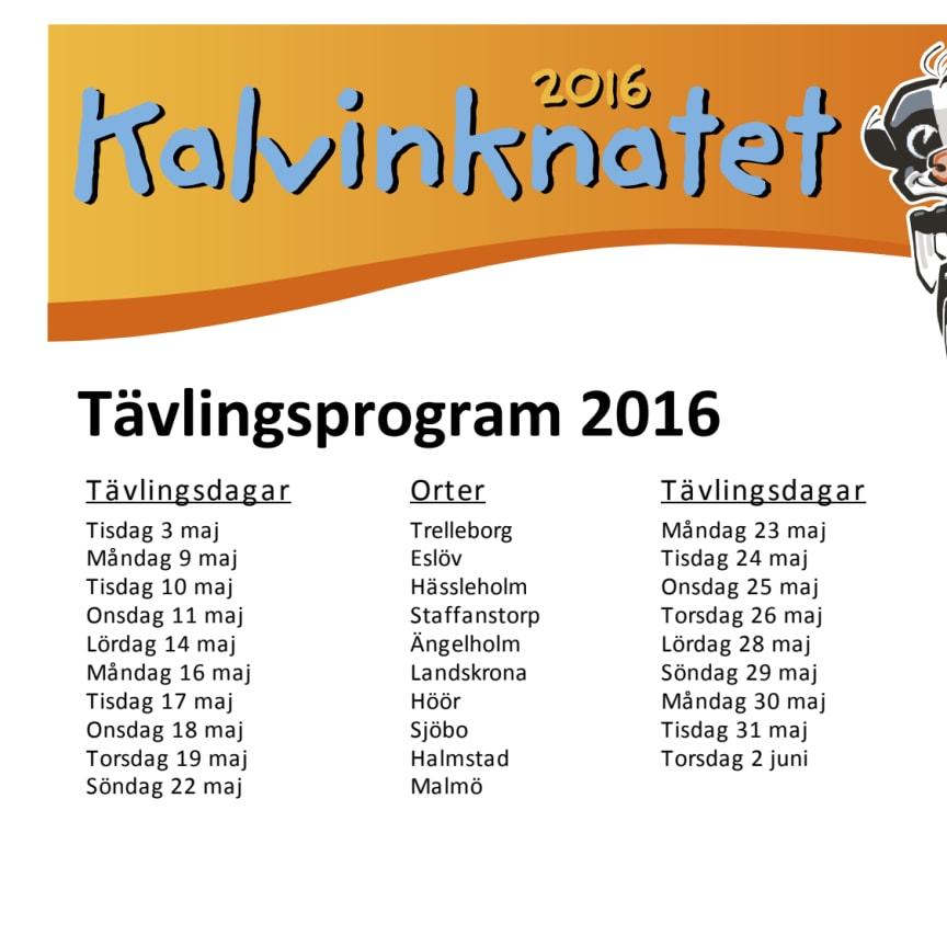 Orter Kalvinknatet 2016