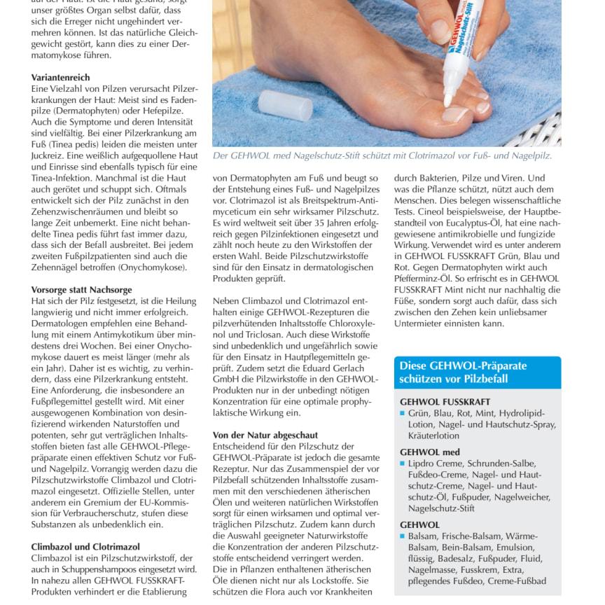 Wehret den Anfängen: Pilzschutz in den GEHWOL-Präparaten