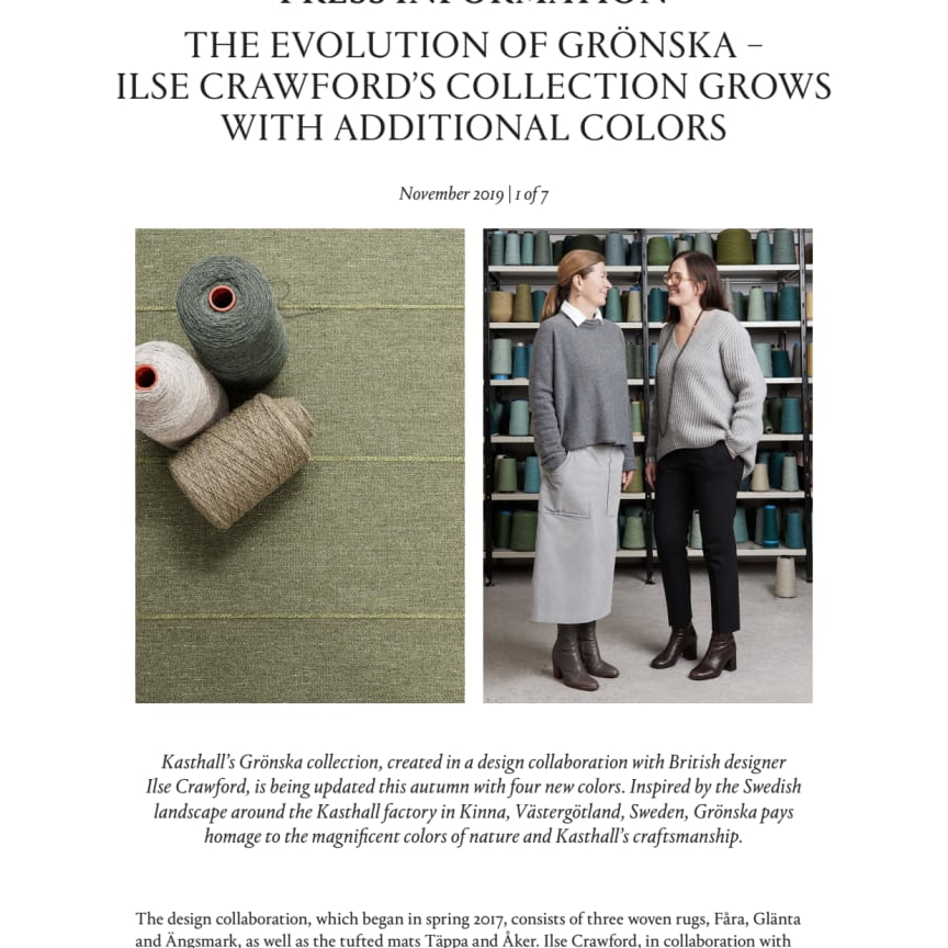 THE EVOLUTION OF GRÖNSKA – ILSE CRAWFORD'S COLLECTION GROWS WITH ADDITIONAL COLORS