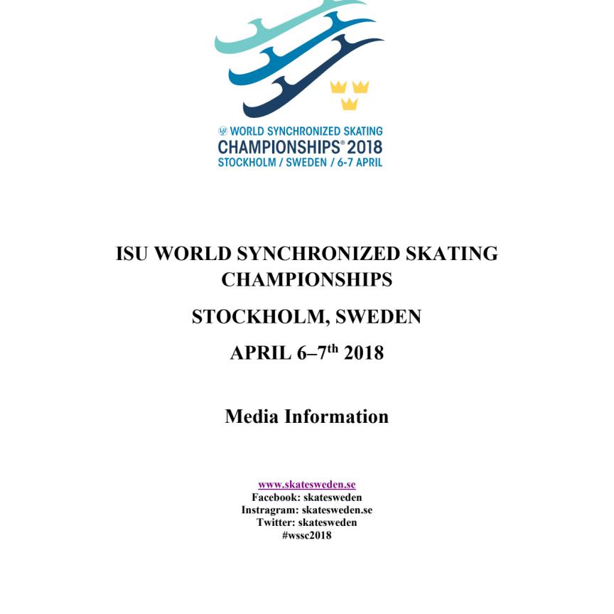 Media information, ISU World Synchronized Skating Championships