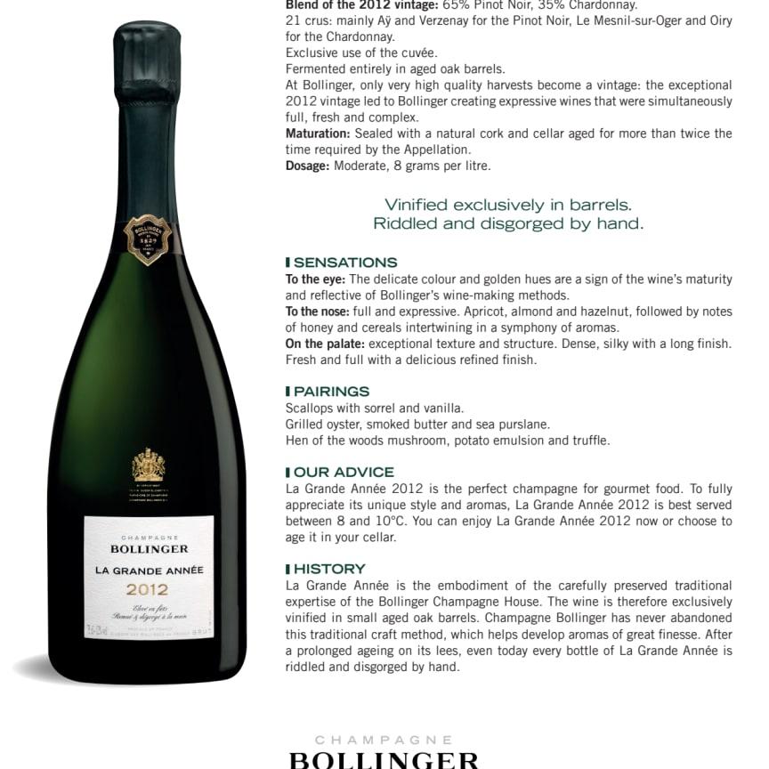 Produktblad Bollinger La Grande Année 2012