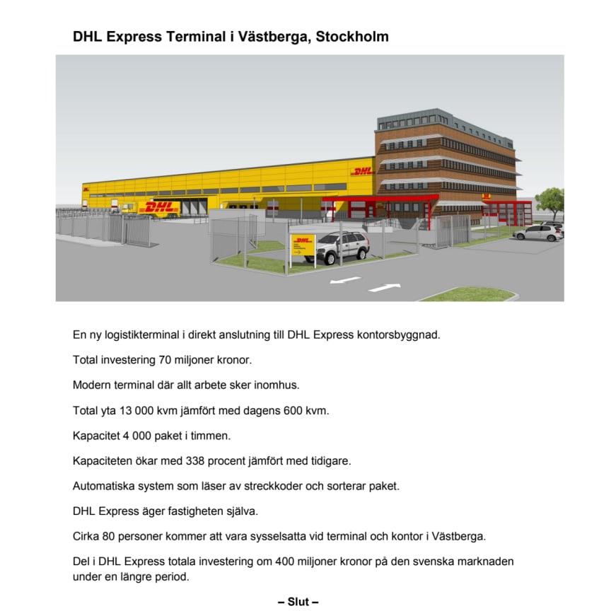 DHL Express nya terminal i Västberga_faktablad