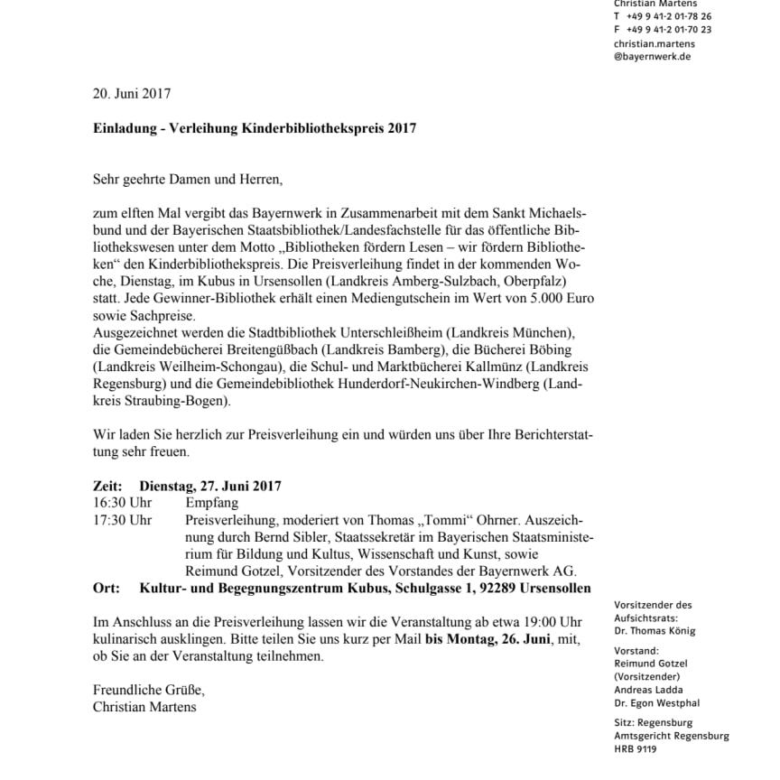 Einladung - Verleihung Kinderbibliothekspreis 2017