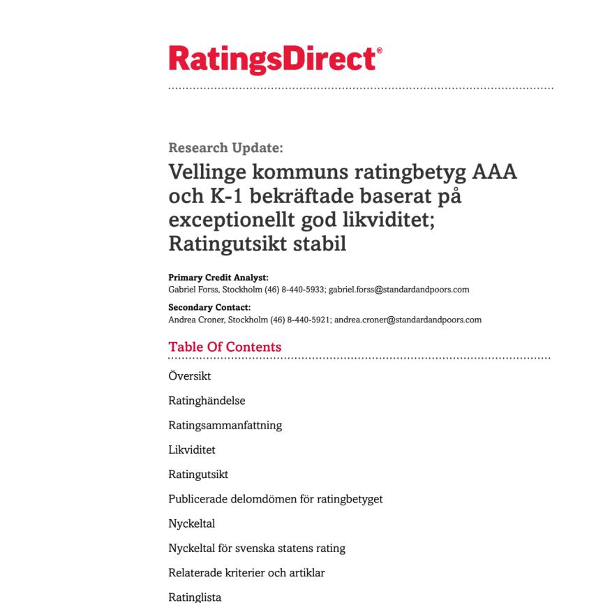 Standard & Poor´s Rating Services: Ratings Direct - Vellinge kommuns ratingbetyg