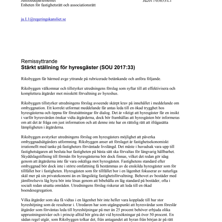 Remissyttrande, Stärkt ställning för hyresgäster (SOU 2017:33)