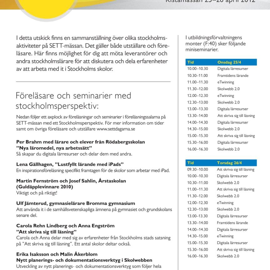 Stockholmsaktiviteter på SETT-mässan