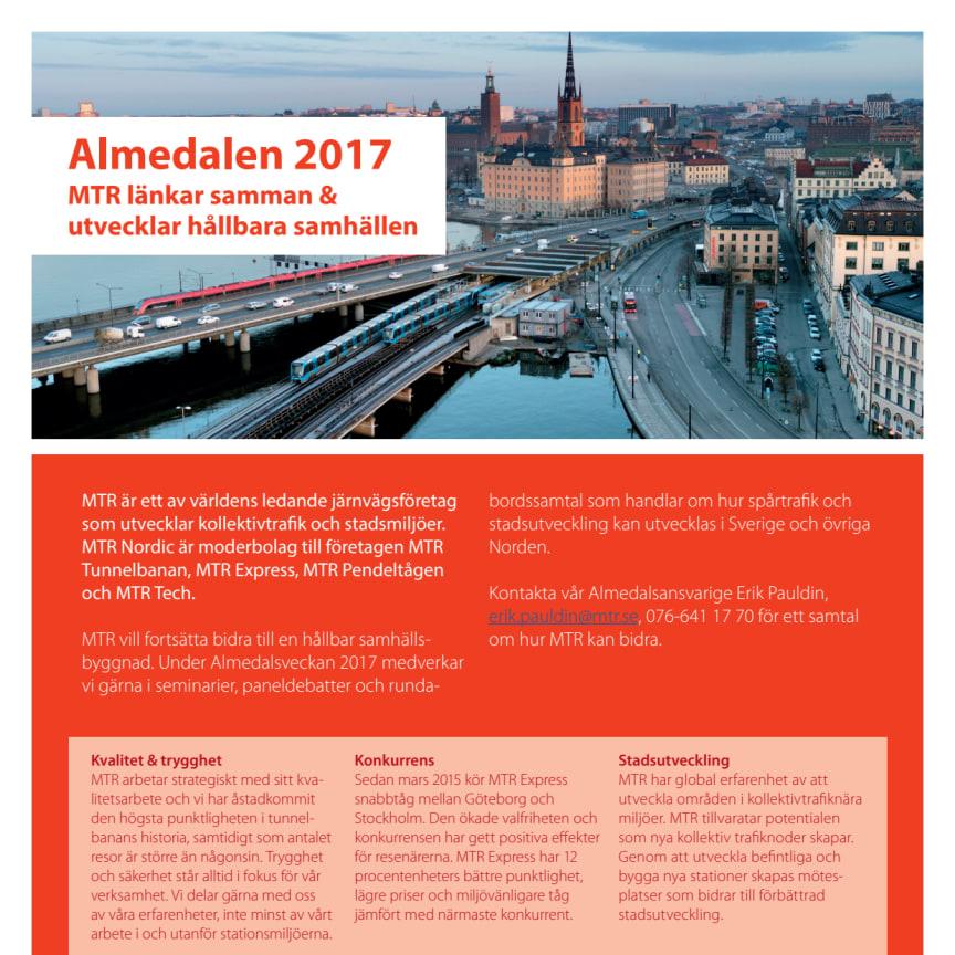 Information om MTR Nordic  i Almedalsveckan 2017.