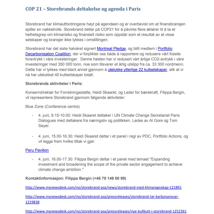 COP 21 - Storebrands deltakelse og agenda i Paris