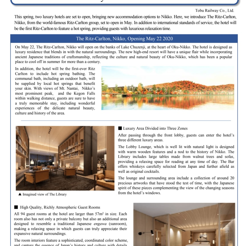 Luxury Resorts in Nikko Prepares to Open Ahead  of the Early Summer Travel Season